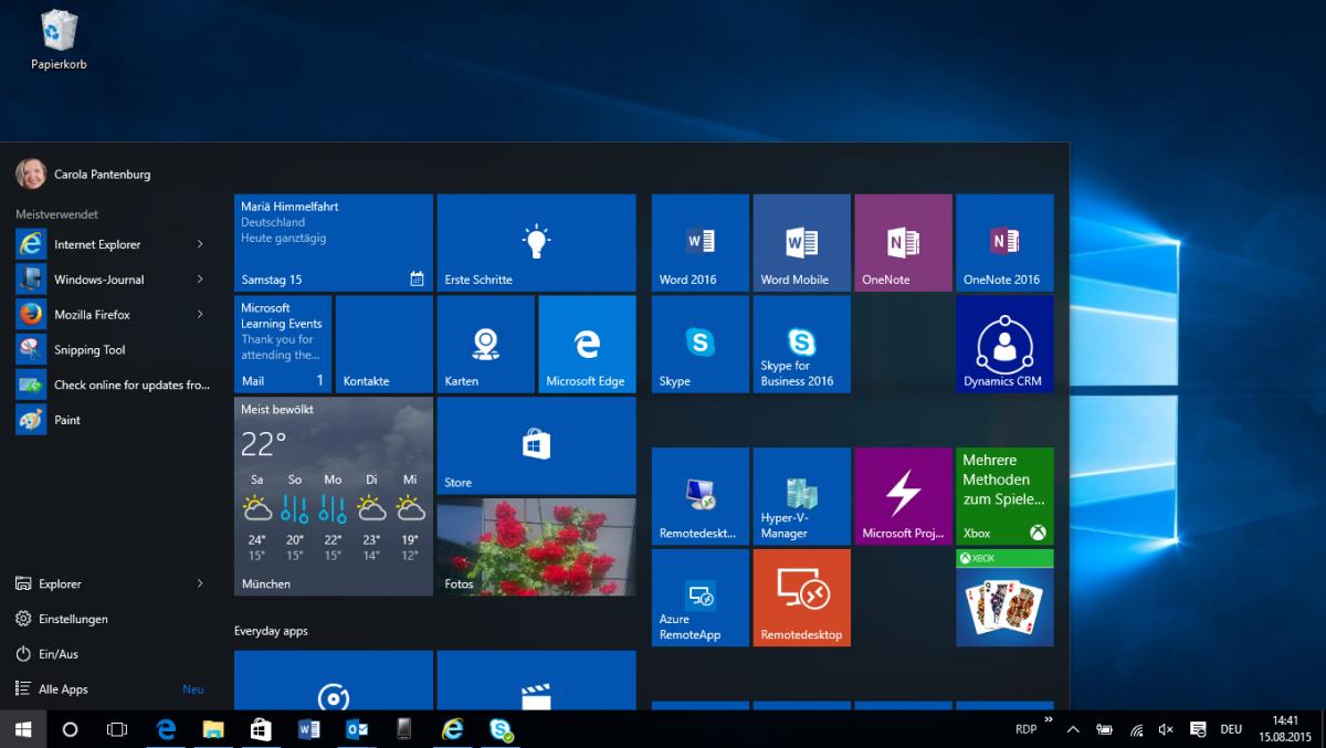 Windows 10 Startmenü Aktivieren